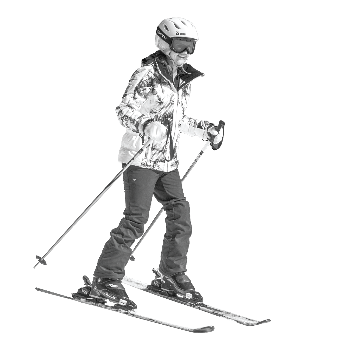 Girl snow skiing in black and white