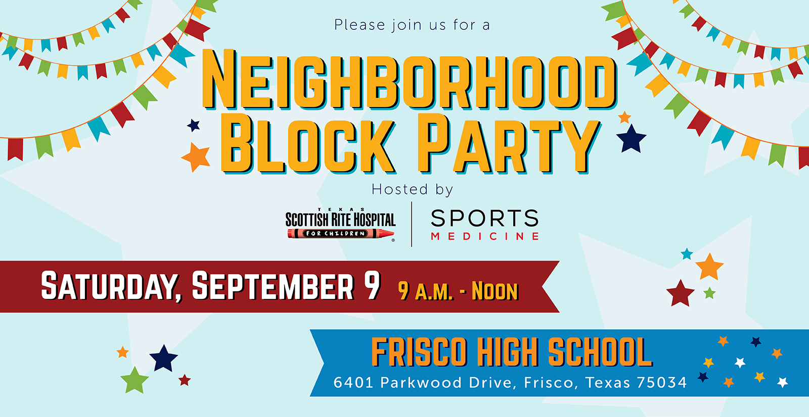 Neighborhood Block PartyOn Saturday, September 9, TSRHC will be hosting a Neighborhood Block Party in Frisco to meet our new neighbors, as well as give them the chance to meet us and learn more about