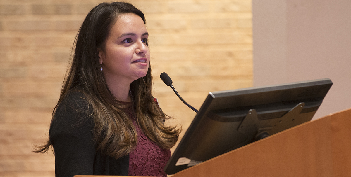 Researcher, Adriana DeLaRocha, gives a presentation.