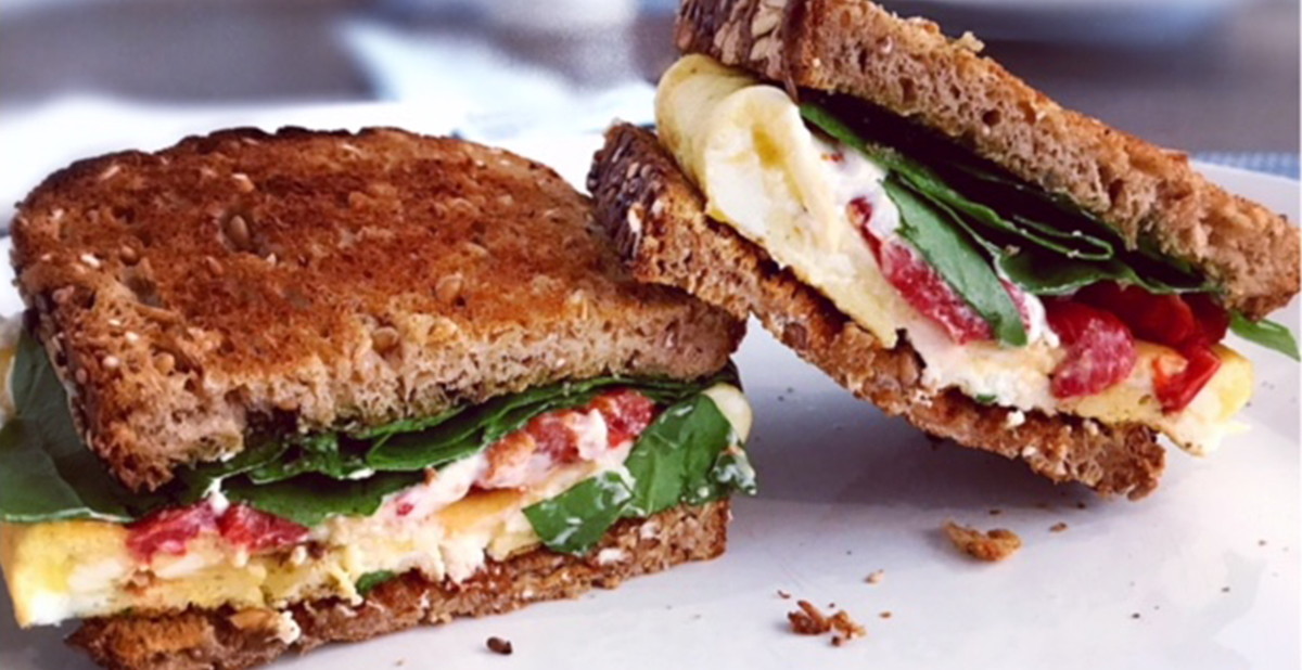 Vegetarian egg and cheese sandwich