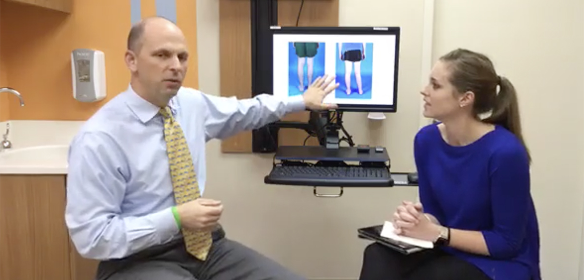 Dr. Podeszwa explaning a limb lengthening case on Facebook live.
