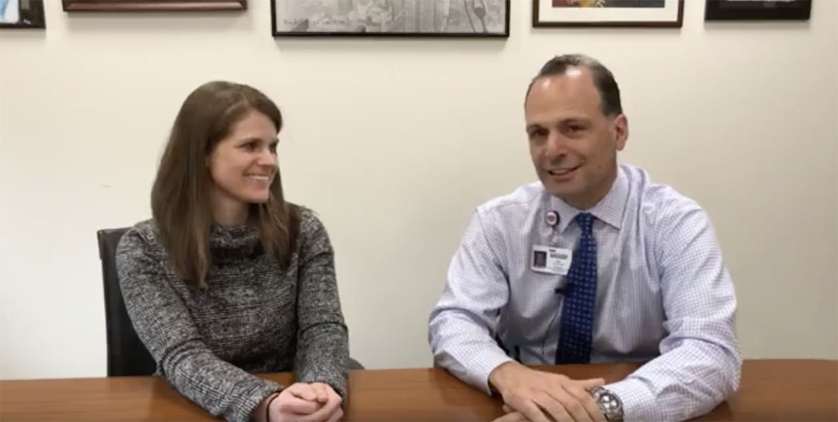 Dan Sucato, M.D. and Lorena Floccari, M.D. sit down for Facebook live segment.