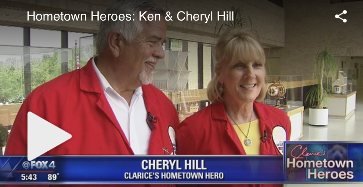 Vounteers, Ken and Cheryl Hill, being interviewed on Clarice's Hometown Heroes segment.