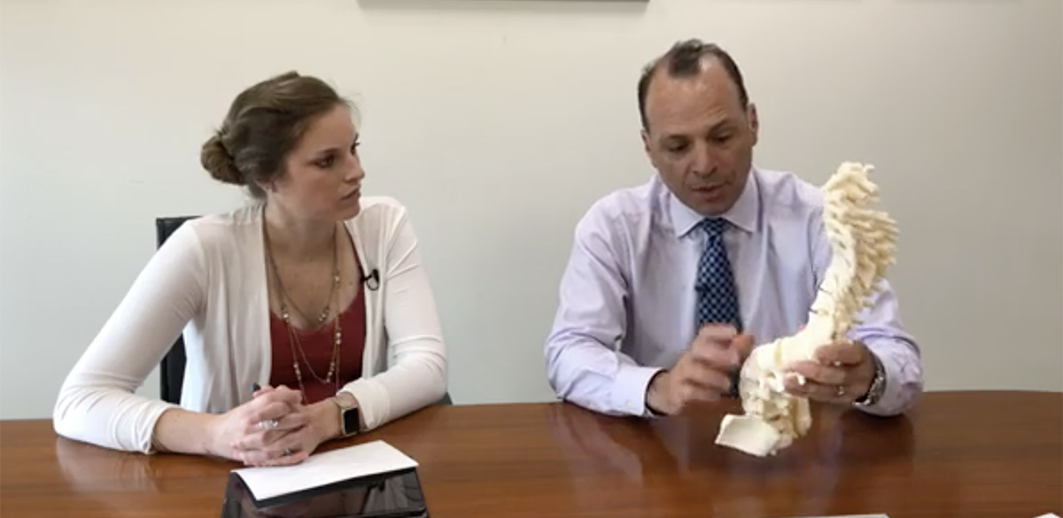 Dr. Sucato explains a 3D spine on Facebook live.