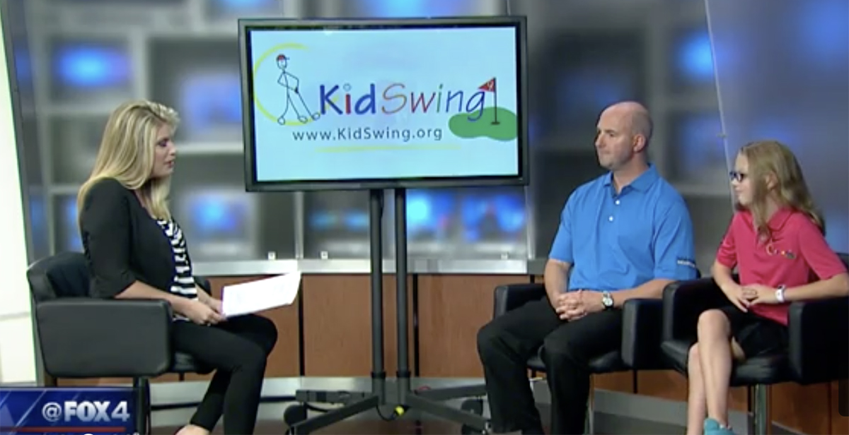 Kidswing participant and father on Fox4.
