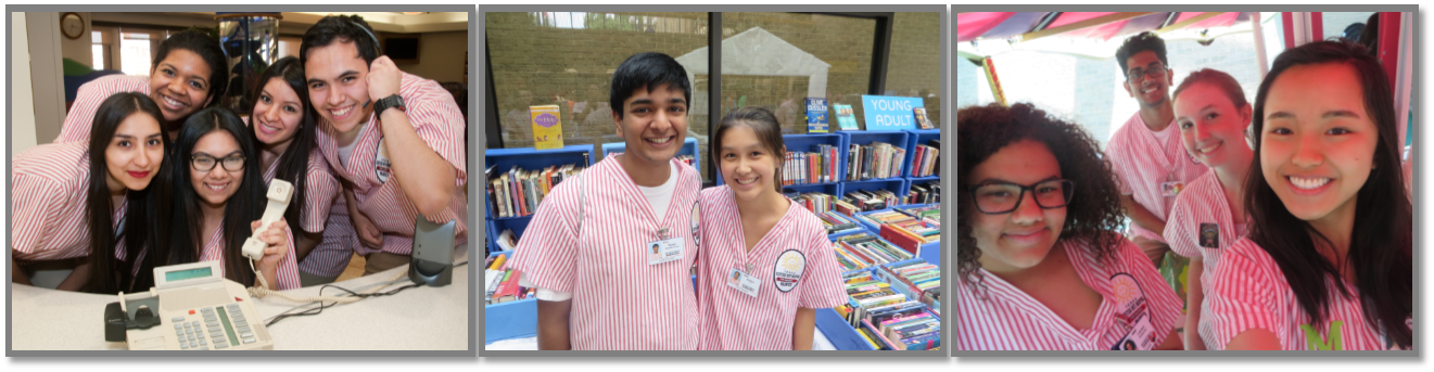Members of the junior volunteer program helping at Texas Scottish Rite Hospital for Children book sale event