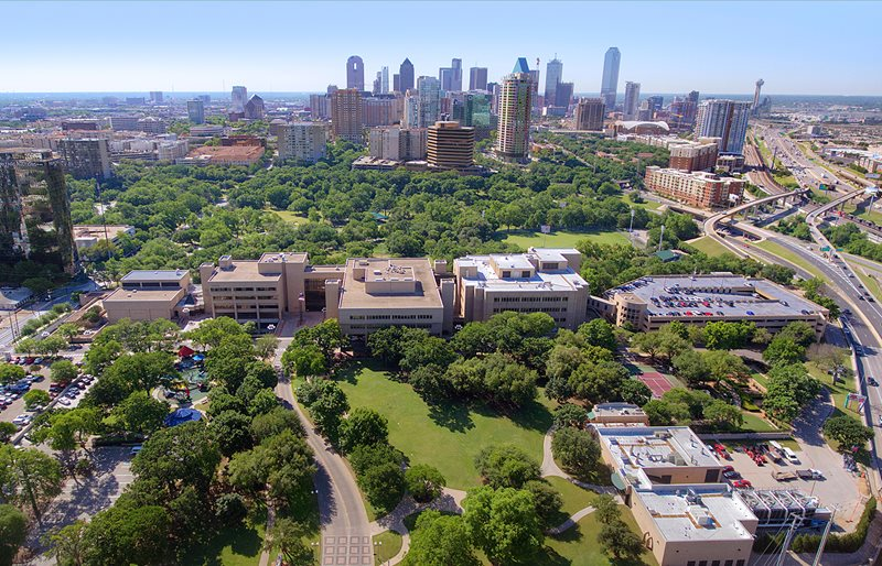Aerial view of Texas Scottish Rite Hospital for Children and downtown Dallas