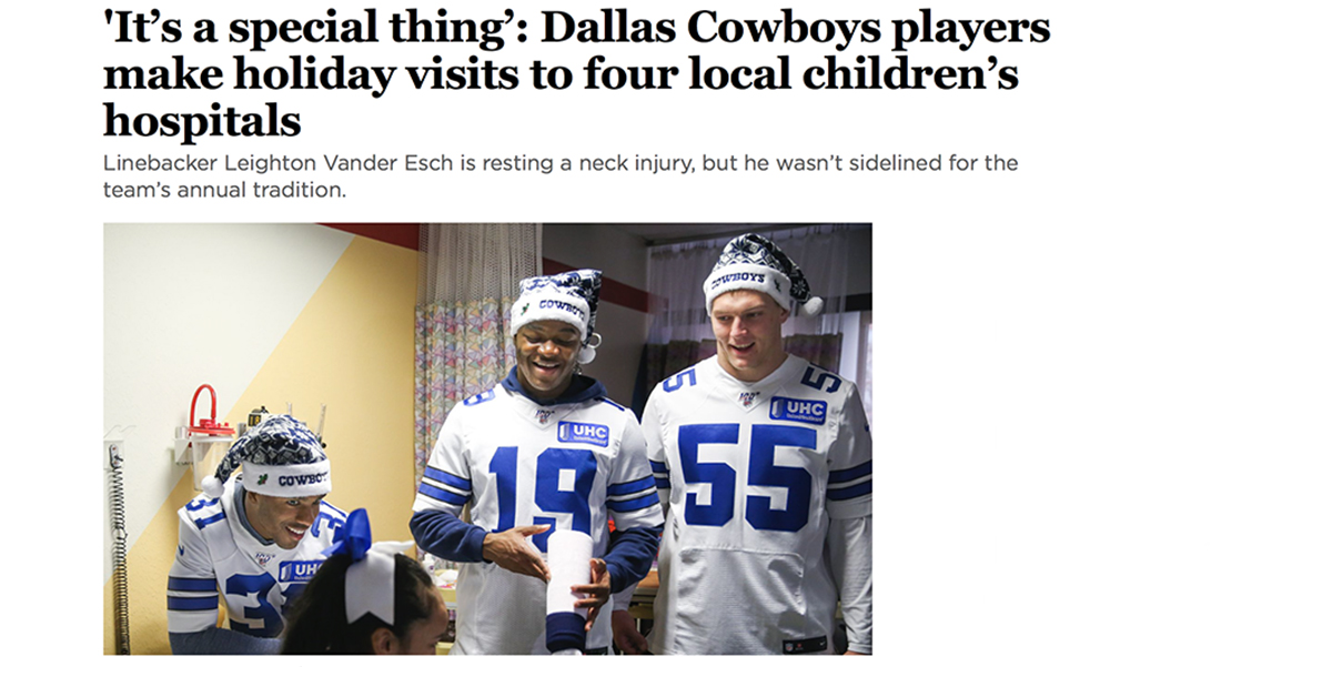 cowboys players in patient room