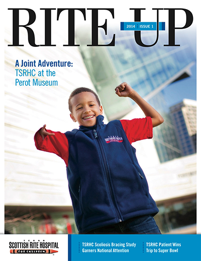 Texas Scottish Rite Hospital for Children Rite Up magazine cover 2014 issue 1