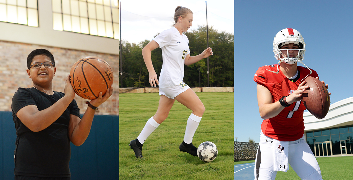 basketball, soccer and football player