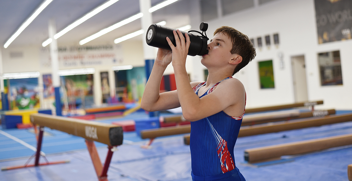 gymnast drinking water