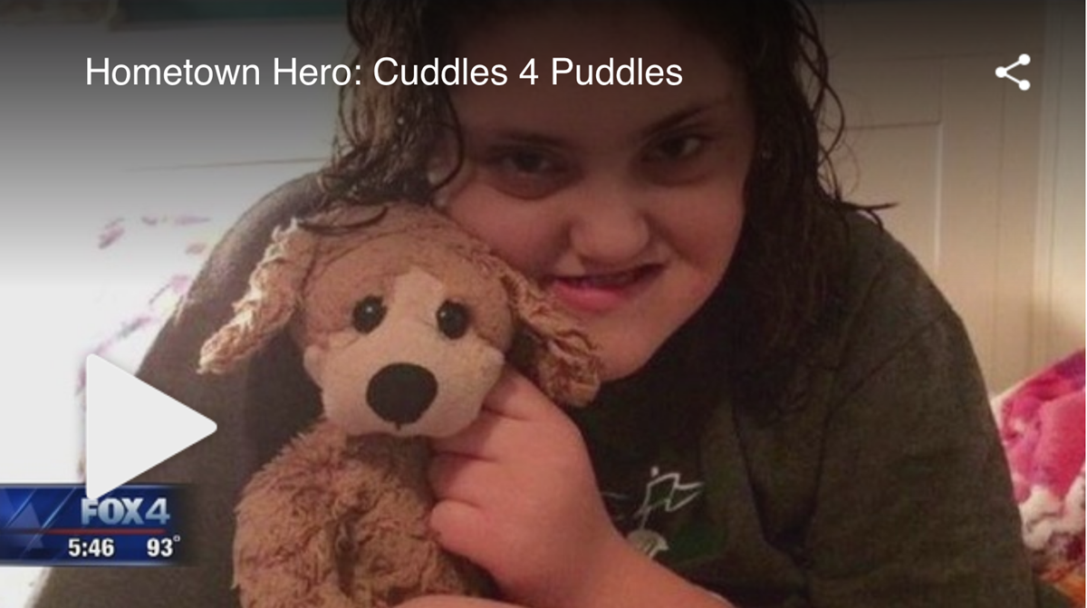 Patient Lyndsey Jones donates plush puppies to the hospital.