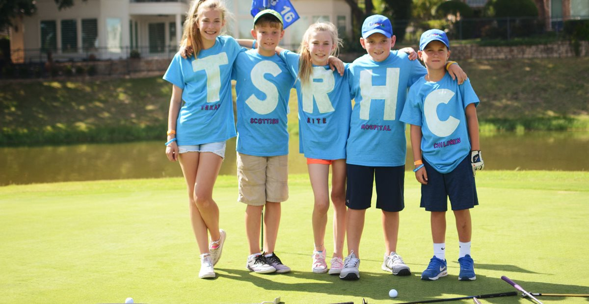 Children participating in Texas Scottish Rite Hospital for Children's KidSwing Golf Tournament