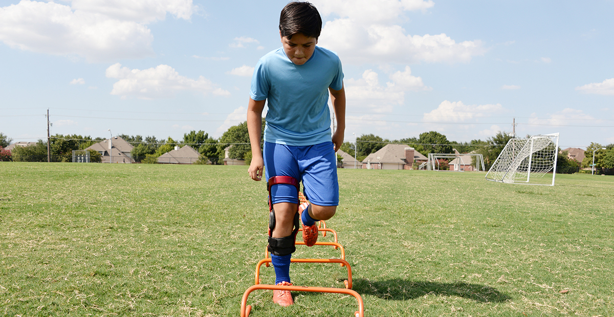 Patient, Diego, outside playing soccer