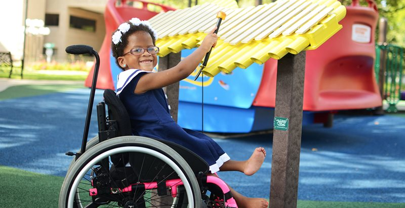 Pediatric orthopedic patient in wheelchair at Scottish Rite for Children