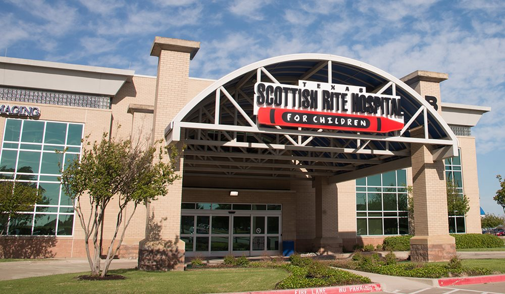 Front of building at North Campus of Texas Scottish Rite Hospital for Children in Plano
