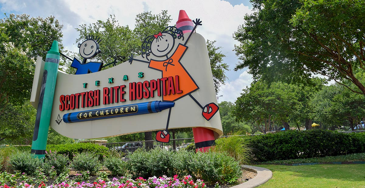 Texas Scottish Rite Hospital for Children sign outside main campus